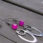 Hot Pink Earrings Chalcedon..