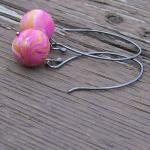 Pink Earrings Sterling Silv..