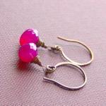 Pink Gemstone Earrings Copper Chalc..