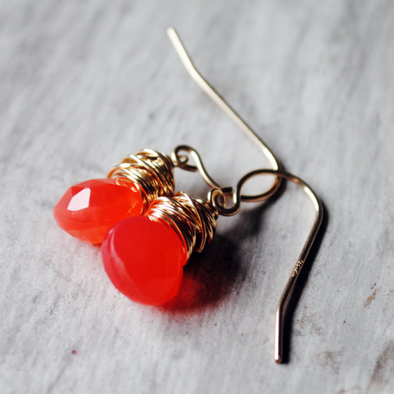 Bright Orange Earrings 14kt Gold Filled Chalcedony Gemstones Wire Wrapped