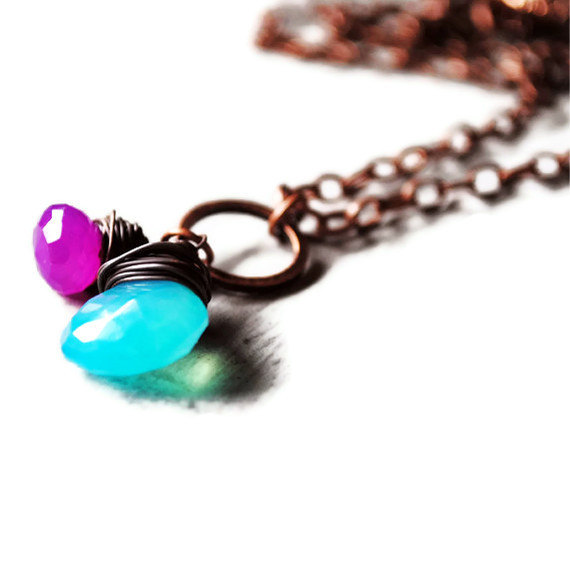 Blue and Purple Necklace Chalcedony Antique Copper Wire Wrapped Gemstone Light Sky Grape