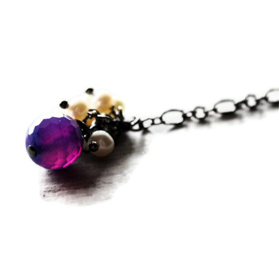 Purple Pearl Necklace Agate Gunmetal Gemstones Grape