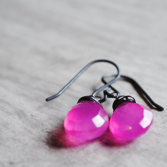Bright Pink Earrings Chalcedony Sterling Silver Oxidized Gemstones