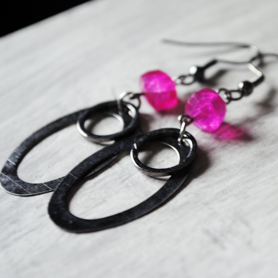 Hot Pink Earrings Chalcedony Gunmetal Gemstones Retro