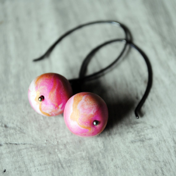 Pink Earrings Sterling Silver Polymer Clay Oxidized