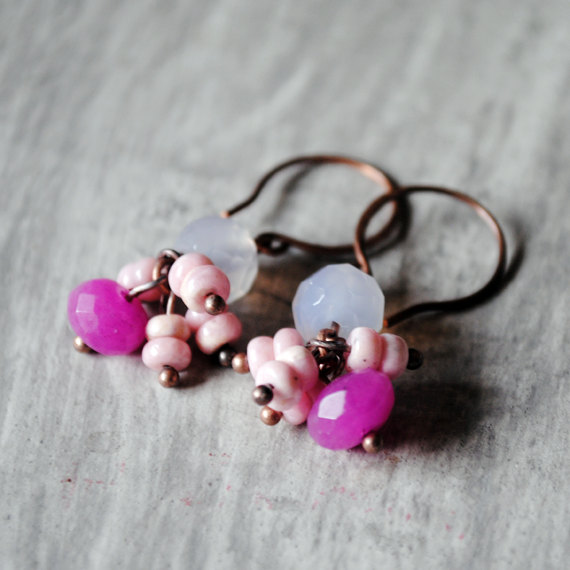 Lavender Pink Earrings Rhodochrosite Chalcedony Copper Gemstones