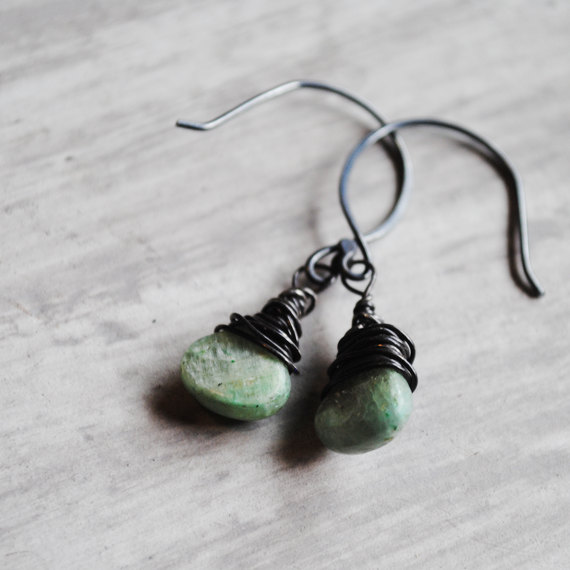 Green Kyanite Earrings Oxidized Sterling Silver