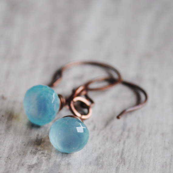 Sky Blue Earrings Copper Wire Wrapped Chalcedony Gemstones