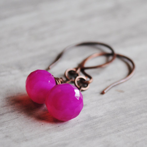 Pink Gemstone Earrings Copper Chalcedony Wire Wrapped Magenta