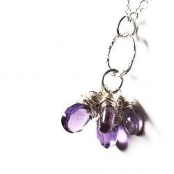 Purple Amethyst Necklace Sterling Silver Cluster Gemstones Wire Wrapped