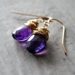Dark Amethyst Earrings 14kt Gold Filled Purple Grape