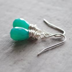 Green Chalcedony Earrings Sterling Silver Shamrock Gemstones