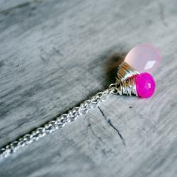 Pink Chalcedony Necklace Sterling Silver Gemstones Hot Light Pink