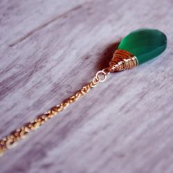 Emerald Green Necklace 14kt Gold Filled Chalcedony Wire Wrapped Gemstones