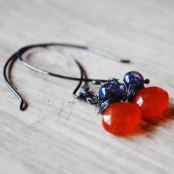 Sterling Silver Earrings Chalcedony Blue Labradorite Orange Blue Gemstones