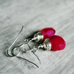 Raspberry Red Earrings Chalcedony Sterling Silver Wire Wrapped Gemstones