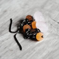 Pink Orange Earrings Rose Quartz Aventurine Gunmetal Gemstones