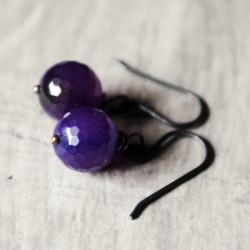 Grape Purple Earrings Agate Gunmetal Gemstones