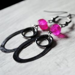 Hot Pink Earrings Chalcedony Gunmetal Gemstones Retro