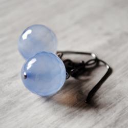 Periwinkle Blue Earrings Chalcedony Gemstones Gunmetal