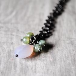 Lavender Green Necklace Chalcedony Kyanite Gemstones Gunmetal