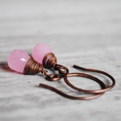 Light Pink Earrings Antique Copper Jade