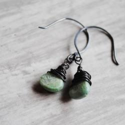 Green Kyanite Earrings Oxidized Sterling Silver