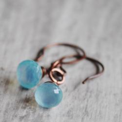 Sky Blue Earrings Copper Wire Wrapped Chalcedony Gemstones