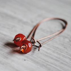 Red Carnelian Earrings Gemstones Antique Copper