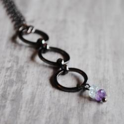 Amethyst Aquamarine Necklace Gunmetal Gemstones Purple Light Blue