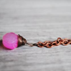 Light Pink Necklace Gemstones Chalcedony Copper Wire Wrapped