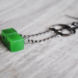 Green Quartz Earrings Lime Retro Cube Gunmetal